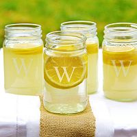 Cathy's Concepts 4 pc Monogram Mason Jar Set