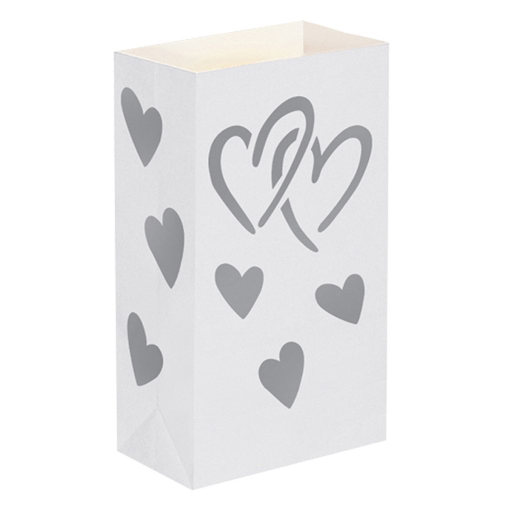 LumaBase 12-pk. Heart Flame-Resistant Paper Luminaria Bags - Indoor & Outdoor