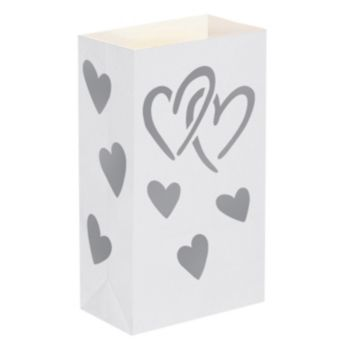 LumaBase 12-pk. Heart Flame-Resistant Paper Luminaria Bags - Indoor and Outdoor