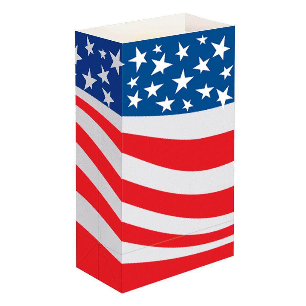 LumaBase 12-pk. Americana Flame-Resistant Paper Luminaria Bags - Indoor & Outdoor