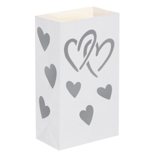 LumaBase 24-pk. Heart Paper Luminaria Bags - Indoor and Outdoor