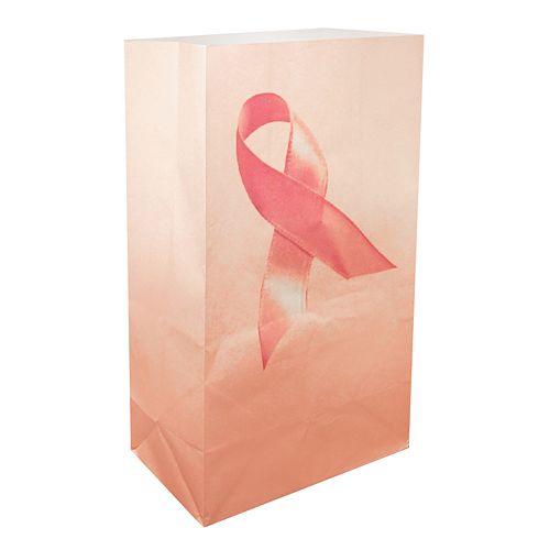 LumaBase 24-pk. Pink Ribbon Paper Luminaria Bags - Indoor & Outdoor