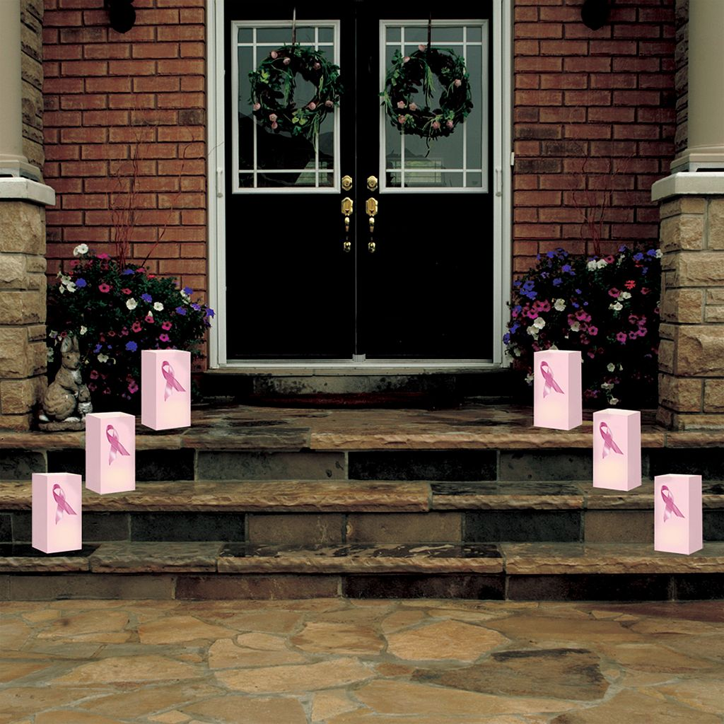 LumaBase 24-pk. Pink Ribbon Paper Luminaria Bags - Indoor and Outdoor