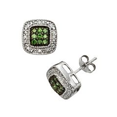 Sterling Silver 1/3 ctT.W. Green & White Diamond Square Halo Stud Earrings