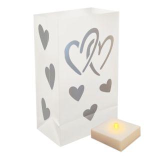 LumaBase Indoor / Outdoor Timer LumaLite & Hearts Luminaria Bag 6-piece Set