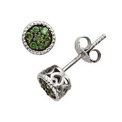 Sterling Silver 1/7 ctT.W. Green Diamond Stud Earrings