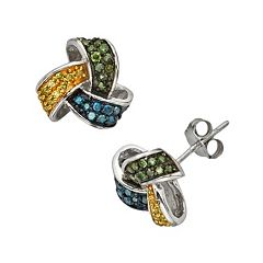 Sterling Silver 1/2 ctT.W. Yellow, Green & Blue Diamond Knot Stud Earrings