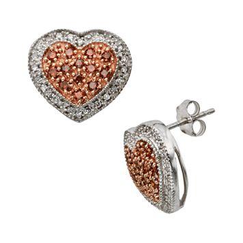 Sterling Silver 1/2-ct. T.W. Red & White Diamond Heart Stud Earrings