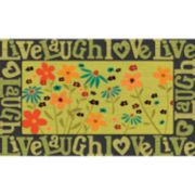 "Apache Mills Masterpiece ""Live Laugh Love"" Floral Doormat - 18'' x 30''"