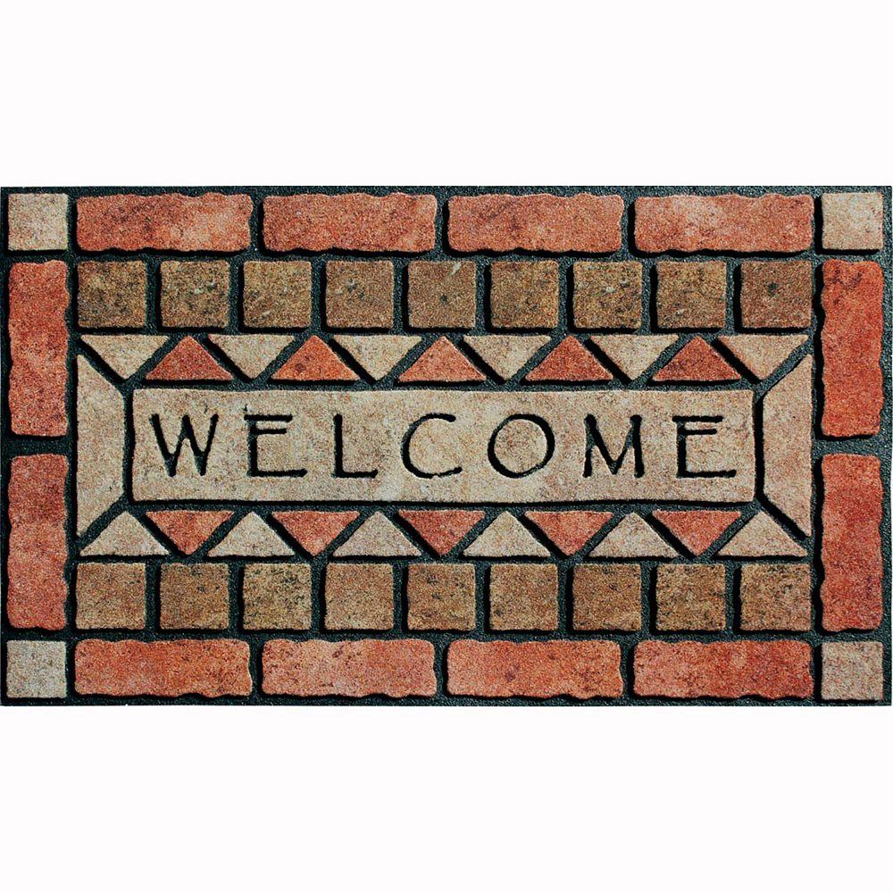 """Apache Mills Masterpiece """"Welcome"""" Stones Doormat - 18'' x 30''"""