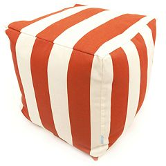 Majestic Home Goods Striped Indoor Outdoor Small Cube Ottoman