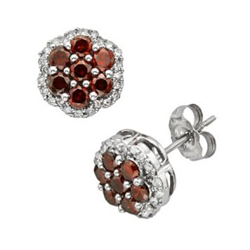 Sterling Silver 1/2-ct. T.W. Red & White Diamond Flower Stud Earrings