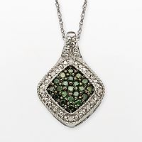 Sterling Silver 1/3 ctT.W. Green & White Diamond Square Halo Pendant
