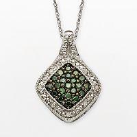 Sterling Silver 1/3 ctT.W. Green & White Diamond Square Halo Pendant