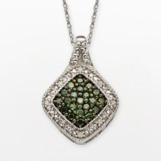 Sterling Silver 1/3-ct. T.W. Green and White Diamond Square Halo Pendant