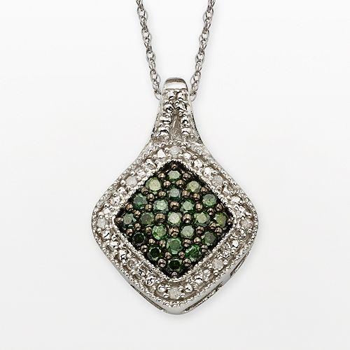 Sterling Silver 1/3-ct. T.W. Green & White Diamond Square Halo Pendant