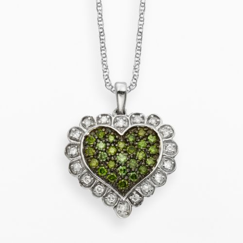 Sterling Silver 1/2-ct. T.W. Green and White Diamond Scalloped Heart Pendant