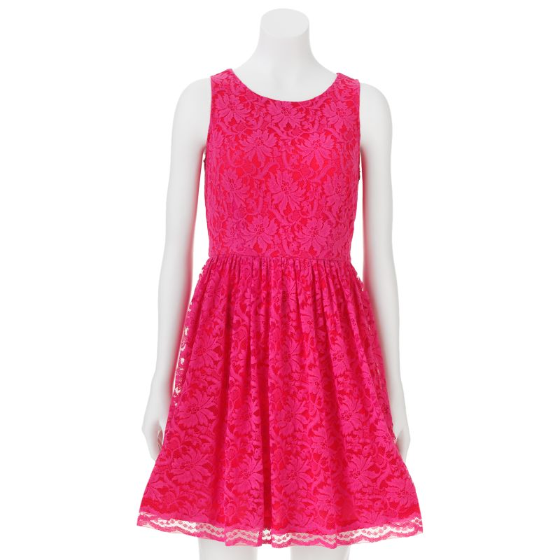 Ruby rox bonded lace mesh dress girls 7 16