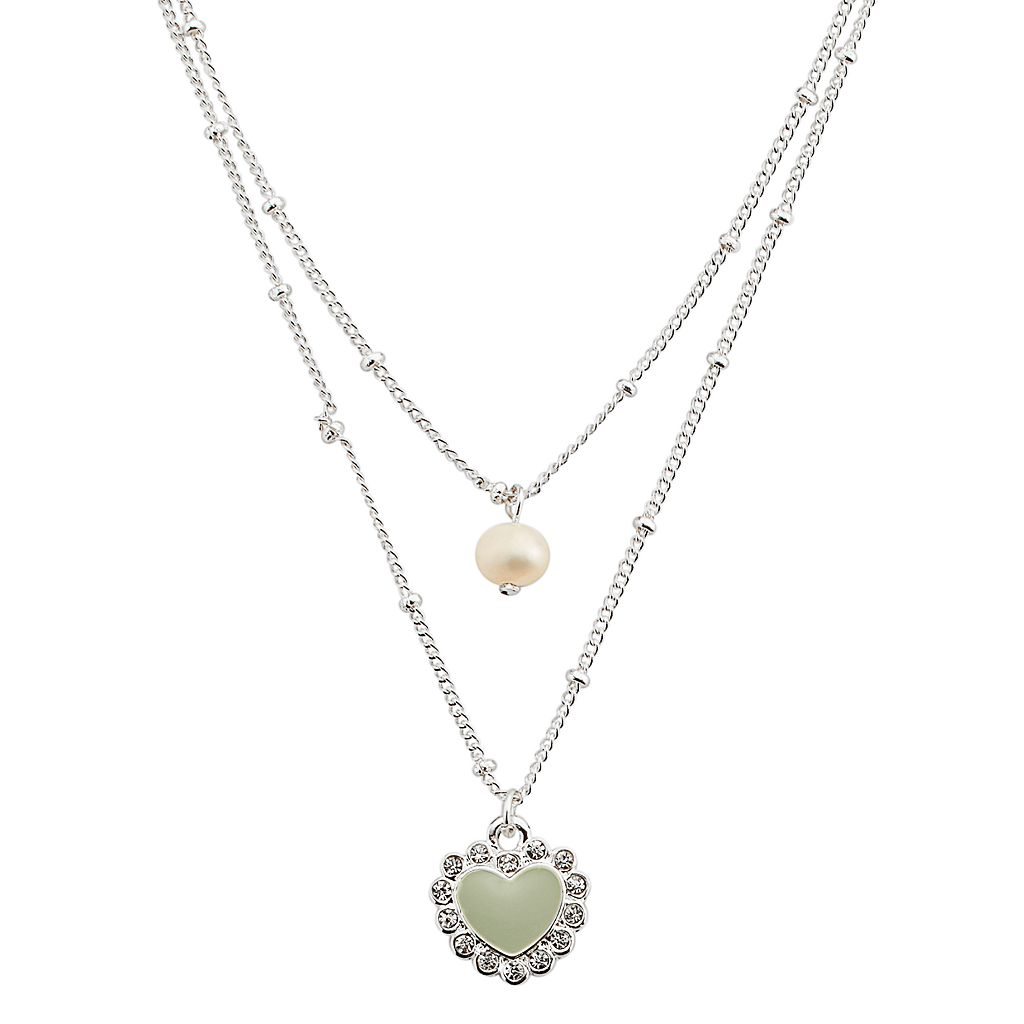 LC Lauren Conrad Silver Tone Simulated Pearl, Simulated Crystal & Heart Charm Multistrand Necklace