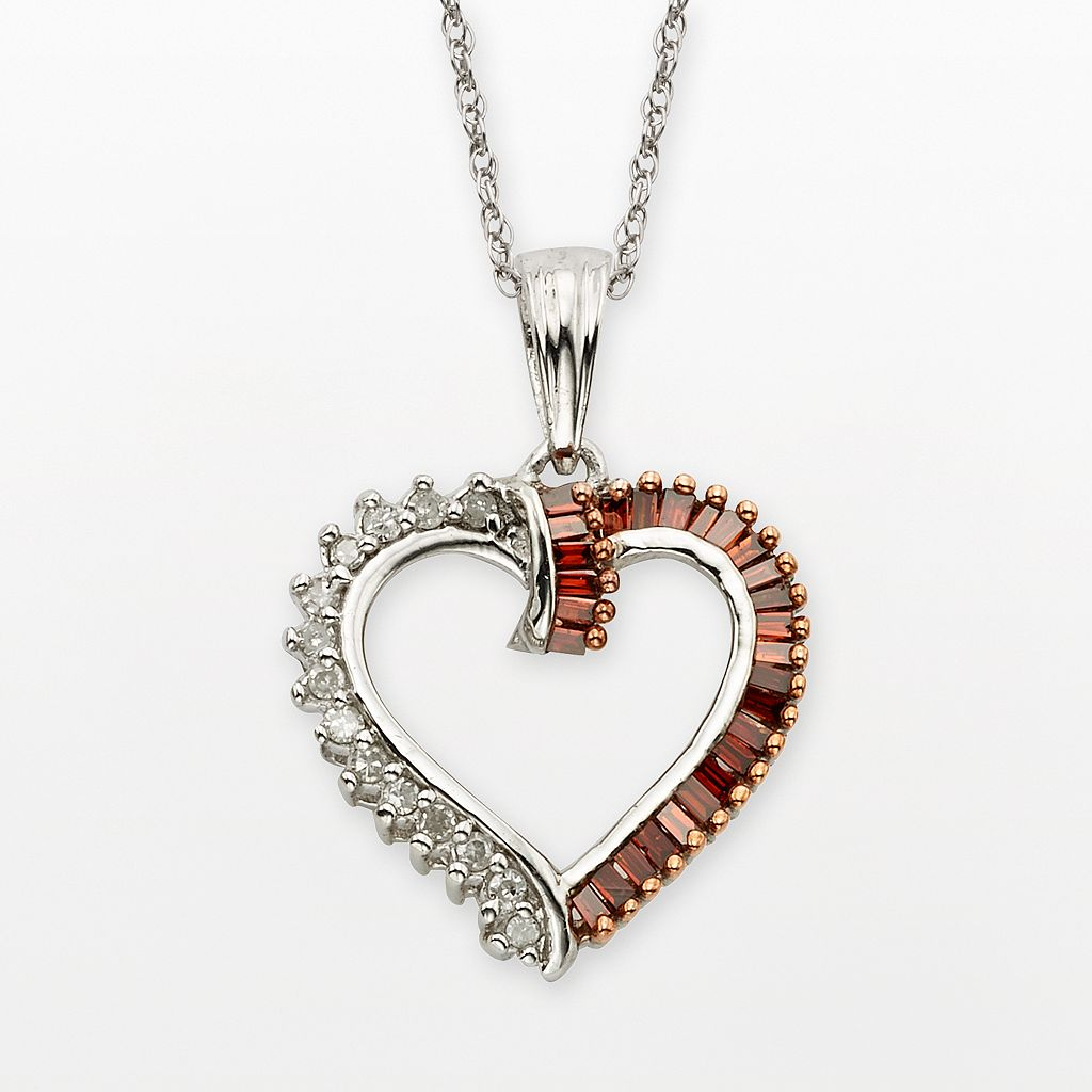 Sterling Silver 1/4-ct. T.W. Red & White Diamond Heart Pendant