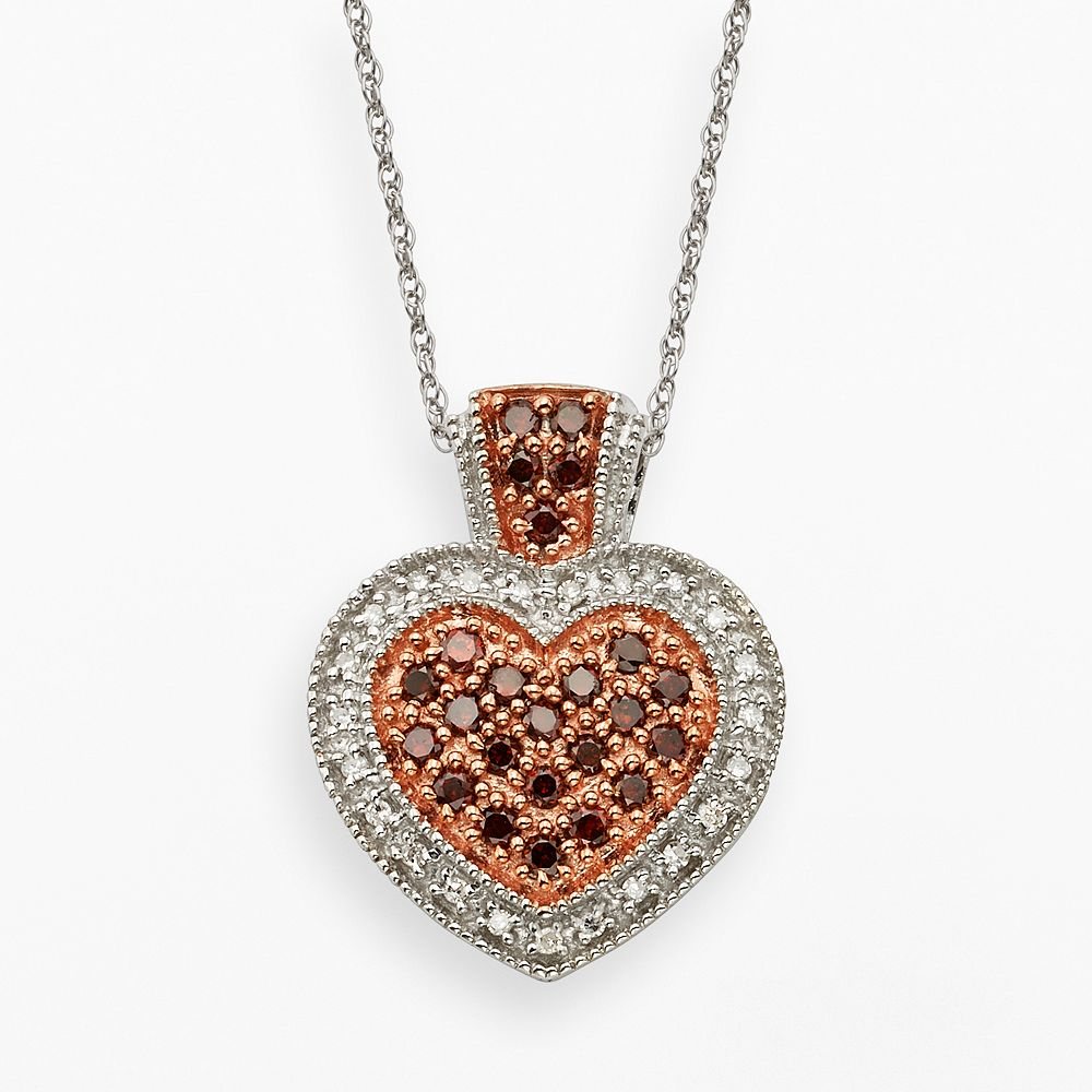 Sterling Silver 1/2-ct. T.W. Red & White Diamond Heart Pendant