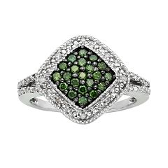 Sterling Silver 1/3 ctT.W. Green & White Diamond Square Halo Ring