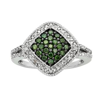 Sterling Silver 1/3-ct. T.W. Green & White Diamond Square Halo Ring