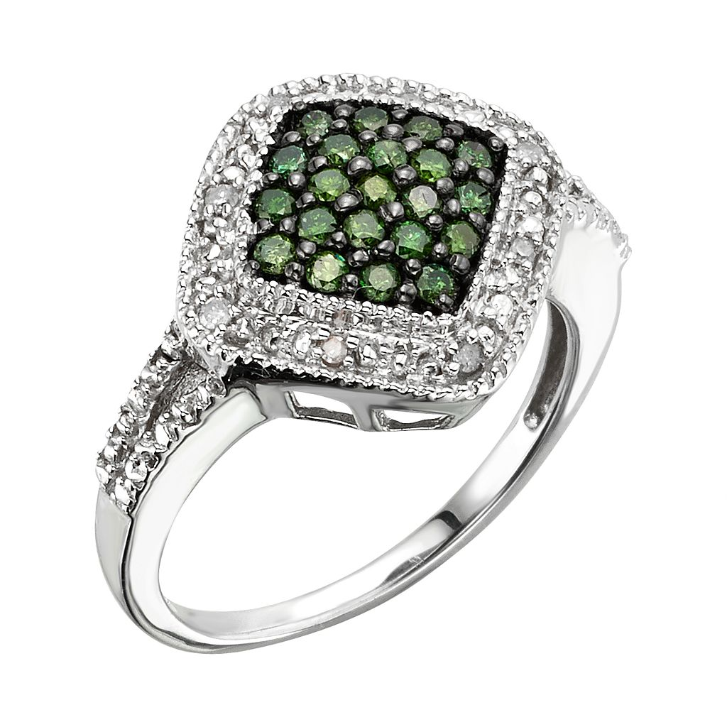 Sterling Silver 1/3-ct. T.W. Green and White Diamond Square Halo Ring