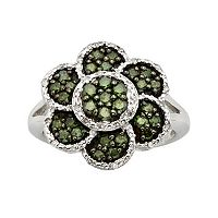 Sterling Silver 1-ct. T.W. Green & White Diamond Flower Ring