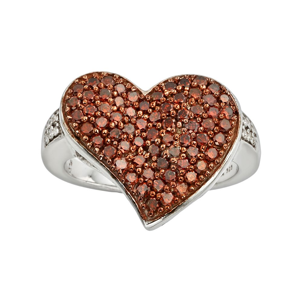 Sterling Silver 1-ct. T.W. Red & White Diamond Heart Ring