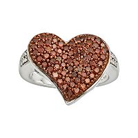 Sterling Silver 1 ctT.W. Red & White Diamond Heart Ring