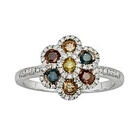 Sterling Silver 1/2-ct. T.W. Diamond Flower Ring