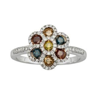 Sterling Silver 1/2-ct. T.W. Diamond Flower Ring