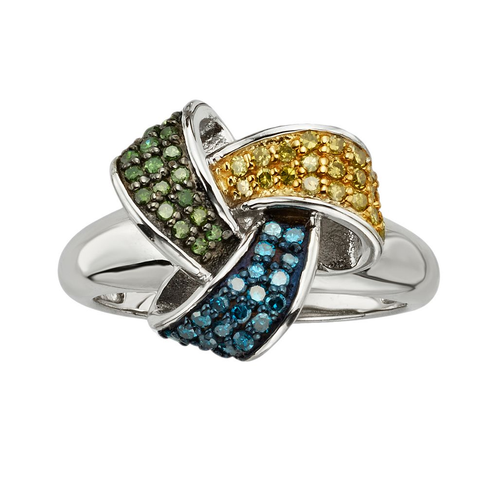 Sterling Silver 1/2-ct. T.W. Blue, Yellow & Green Diamond Love Knot Ring