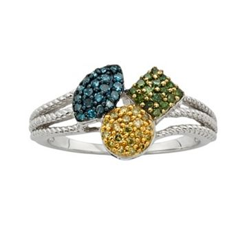 Sterling Silver 1/4-ct. T.W. Blue, Yellow & Green Diamond Ring