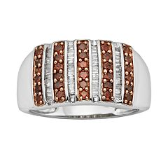 Sterling Silver 1/2 ctT.W. Red & White Diamond Striped Ring