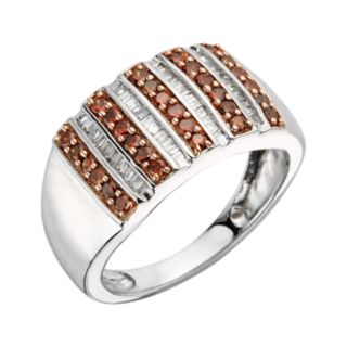 Sterling Silver 1/2-ct. T.W. Red and White Diamond Striped Ring