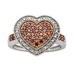Sterling Silver 1/2 ctT.W. Red & White Diamond Heart Ring