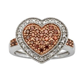 Sterling Silver 1/2-ct. T.W. Red and White Diamond Heart Ring
