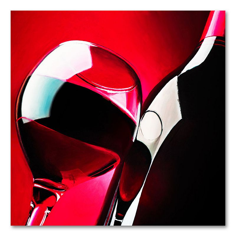 "35"" x 35"" ""Red Wine"" Canvas Wall Art by Roderick Stevens, Red"