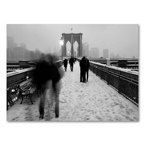 18'' x 24'' ''Love on the Brooklyn Bridge'' Canvas Wall Art by Yale Gurney