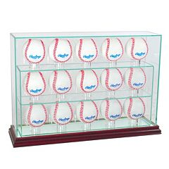 Perfect Cases 15-Baseball Upright Display Case - Cherry Finish