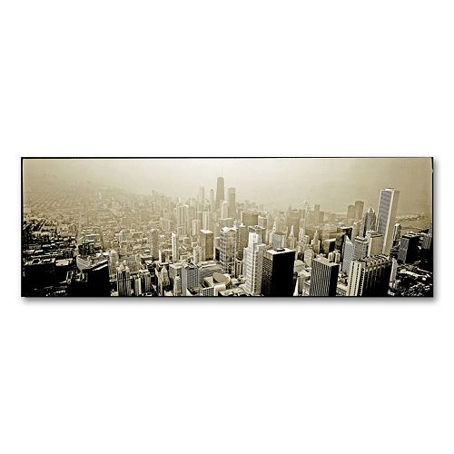 """Chicago Skyline"" 16"" x 47"" Canvas Wall Art by Preston"