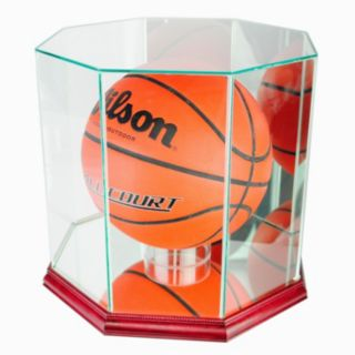 Perfect Cases Octagonal Basketball Display Case - Cherry Finish