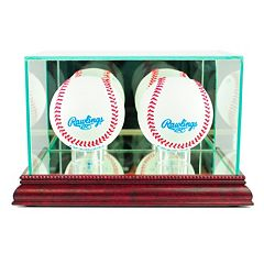 Perfect Cases Double Baseball Display Case - Cherry Finish