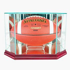 Perfect Cases Octagonal Football Display Case - Cherry Finish