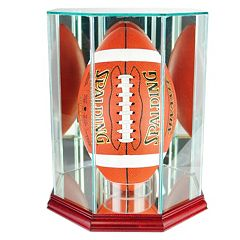 Perfect Cases Upright Octagonal Upright Football Display Case - Cherry Finish