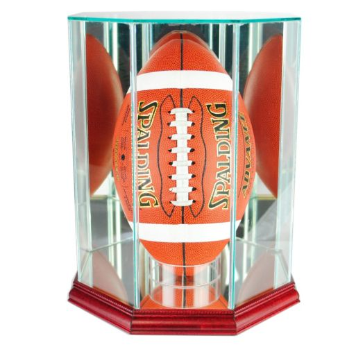 Perfect Cases Upright Octagonal Upright Football Display Case – Cherry Finish