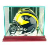 Perfect Cases Mini Football Helmet Display Case - Cherry Finish