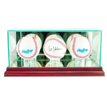 Perfect Cases Triple Baseball Display Case - Cherry Finish